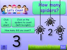 Let's Count Minibeasts, 1-5. Interactive PowerPoint that uses animation and action buttons. Sassoon Numbers and clear, colourful illustrations. Written text is in Comic Sans font