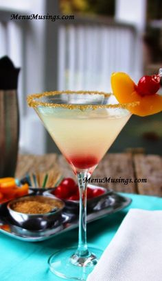 Recipe for making sparkle peach martinis.