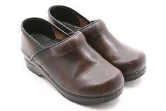 Sanita 36 womens shoes Size 5.5 6 professional brown leather clogs mules slip on #Sanita #Clogs @ebay