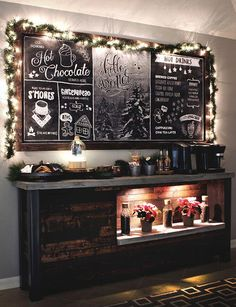 Decorate a Coffee Bar for Christmas to create a cozy coffee shop vibe for the holidays. #winebar