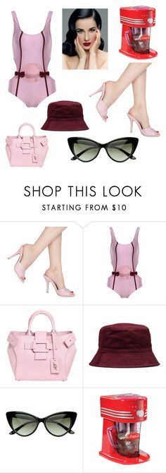 """""""Contest: summer is here"""" by dtlpinn ❤ liked on Polyvore featuring Pinup Couture, Dita Von Teese, Roger Vivier, Dr. Martens and Nostalgia Electrics"""