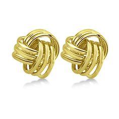 Allurez Love Knot Stud Earrings 14K Yellow Gold (10.5mm) ($380) ❤ liked on Polyvore featuring jewelry, earrings, gold stud earrings, 14k earrings, womens jewellery, gold earrings and 14k yellow gold earrings