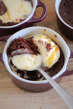 2 Minute Microwave Chocolate Brownies... moist, rich and decadent! The perfect individual dessert! Add a scoop of ice-cream & caramel sauce when serving...