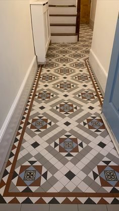 Tiles & Design: London Mosaic Installed by: Victorian Tiling London Victorian Hallway Tiles, Tiled Hallway, Tiling, Mosaic Tiles, Unique Tile, Geometric Tiles, Mosaic Designs, Bespoke Design, Tile Design