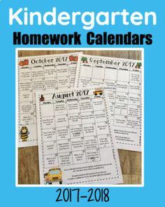 Homework Calendars 2017-2018 {Editable}