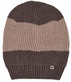 New Gucci 310777 Men's Wool Brown Beige Interlocking GG  Slouchy Beanie Hat #Gucci #Ski