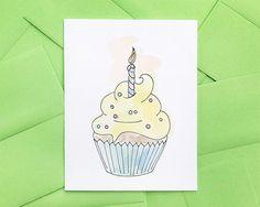 Cupcake Hand Drawn Birthday Card Yellow by ReadyMakerDesign,