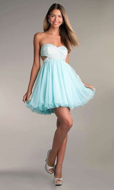 e42bafc6d5b Short Strapless Prom Dress with Cut Out Sides by LA Glo at PromGirl.com this