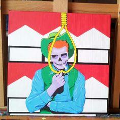 Work in progress for a museum project. He is slowly coming to life.... #marlboroman #contemporary #creative #lowbrow #wip#artist #urbanart #popart #streetart #artist#colorblock#nofilter #popsurrealism #museum