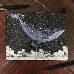 Le talentueux illustrateur philippin Kerby Rosanes nous revient avec une série d'animaux célestes, un bestiaire surréaliste et galactique. Ce maitre gribouilleur a imaginé toute palanquée de bêtes projetées dans l'espace dans son style noir...