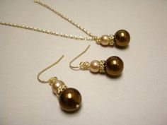 Chocolate Brown and Champagne Glass Pearls by TreasuredAdornment, $22.00