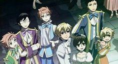 Hikaru, Kaoru, Tamaki, Kyouya, Haruhi, Honey, Mori, smiling; Ouran High School Host Club