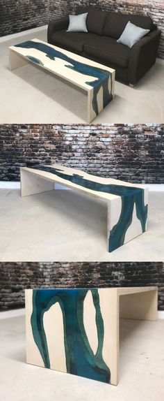 Epoxy Waterfall Coffee Table by Revive Joinery he beauty of this epoxy waterfall coffee table lies in the blue-tinted epoxy resin river running through the entire tabletop to the sides to give an effect of a waterfall.