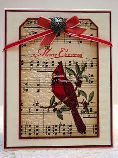 Stampin' Up! A Cardinal Christmas handmade card using sheet music