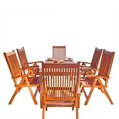 VifahBalthazar Eucalyptus 7-Piece Patio Dining Set with Folding Chairs