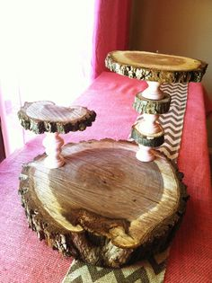 Three tier cupcake stand made out of wood slices and painted wood candle holders. The candle holders were six in a bag at Hobby Lobby in the raw wood isle. Total cost was less than $6. -Joanna Cupcake Table, Cupcake Stands, Internal Design, Total Cost, Wood Candle Holders, Tiered Stand, Rustic Crafts, Raw Wood, Wood Slices