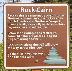 Rock Cairn Sign   Pullman Washington sets the following signs to test hikers ability to spot #cairns