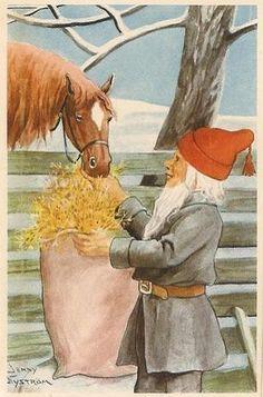 Jenny Nyström Swedish Christmas, Christmas Gnome, Christmas Mood, Scandinavian Christmas, Holiday, Vintage Christmas Cards, Christmas Images, Santa Lucia Day, Munier