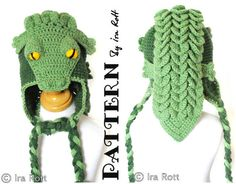 Ravelry: Snappy Simon the Crocodile Hat - Crochet PDF Pattern pattern by Ira Rott I think this would be awesome for my dog Crochet Animal Hats, Crochet Baby Hat Patterns, Crochet Kids Hats, Cute Crochet, Baby Patterns, Crochet Yarn, Knitted Hats, Crocodile Stitch, Crochet Diagram