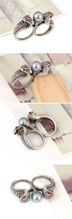 Funky Antique Silver Snake Alloy Fashion Rings,Fashion Rings