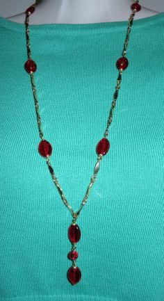 Beautiful Art Deco Red Glass Beads & Chain Necklace