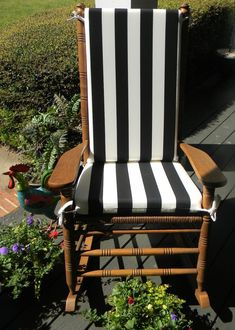 Indoor / Outdoor Black & White Stripe by PillowsCushionsOhMy, $79.96