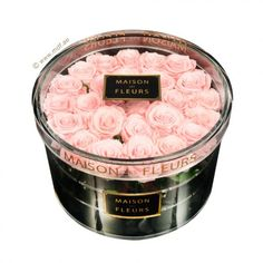 Beautiful pink roses in crystal acrylic box by Maison Des Fleurs