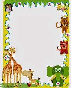 Cover for notebooks for children - Frame animals for children's zoo Page Borders Design, Border Design, Borders For Paper, Borders And Frames, Art Hama, Kindergarten Portfolio, Wild One Birthday Invitations, Diy And Crafts, Paper Crafts