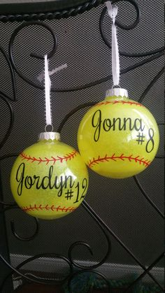 Softball Ornament with name and team # Plastic. Includes year on back. Great for team gifts. Softball Party, Softball Crafts, Softball Quotes, Softball Pictures, Girls Softball, Baseball Mom, Softball Stuff, Softball Team Gifts, Softball Things