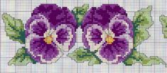 I love pansies! Cross Stitch Bookmarks, Cross Stitch Bird, Cross Stitch Borders, Cross Stitch Flowers, Cross Stitch Charts, Cross Stitch Designs, Cross Stitching, Cross Stitch Embroidery, Cross Stitch Patterns