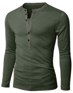 LS Deep Button Henley Army Green