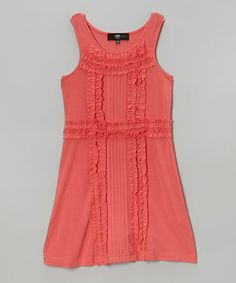 Love this Coral Ruffle Shift Dress - Girls on #zulily! #zulilyfinds