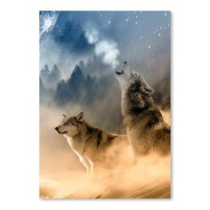 """East Urban Home Fantasy Wolf Wolves Animal Graphic Art Size: 16"""" H x 12"""" W"""