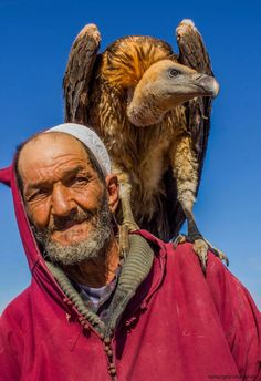 Moroccan men and his buzzard- BUZZARD?