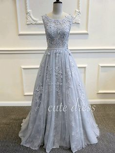 Cute round neck gray tulle lace long prom dress, unique bridesmaid dress, modest prom dress long