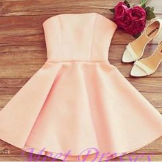 A Line Pearl Pink Homecoming Dresses Zippers Sleeveless No Strapless Short Homecoming Dress Strapless Homecoming Dresses, Hoco Dresses, Party Dresses For Women, Dance Dresses, Casual Dresses For Women, Evening Dresses, Formal Dresses, Prom Dress, Freshman Homecoming Dresses