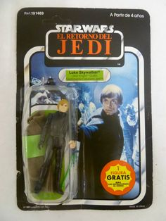 Vintage (Spanish Language Carded)  KENNER ROTJ Luke Skywalker in Jedi Knight outfit action figure.