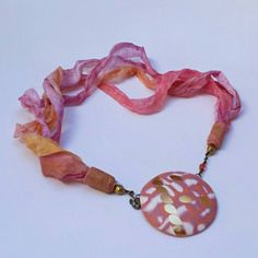 Beautiful necklace made by Valerie using Perran Yarn handdyed recycled chiffon silk ribbon in shade Sunset Party Ribbon Yarn, Silk Ribbon, Lilac, Purple, Pink, Bouquet Wrap, Sari Silk, Beautiful Necklaces