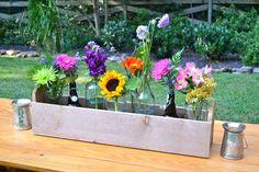 Casual Backyard Biergarten Engagement Party:  Flowers