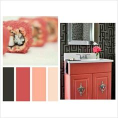 Coral, peach, black, and gray... bathroom?