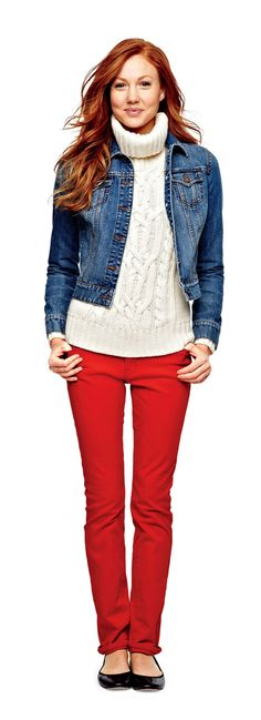 jcp skinny jeans, denim jacket, and cowl-neck sweater