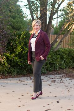 Savvy Southern Chic: What to wear to the office holiday daytime party, office holiday attire, fall winter outfit, burgundy blazer outfit, statement necklace