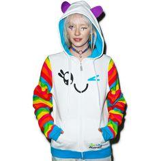 Iron Fist x So So Happy Wink Rainbow Sleeve Hoodie (540 MAD) ❤ liked on Polyvore featuring tops, hoodies, zip front hooded sweatshirt, iron fist hoodie, zip front hoodies, zip front top and iron fist hoodies