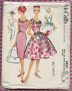 1950s Vintage Sewing Pattern McCalls 4957 Summer Sheath or Full Skirt Dress Prom