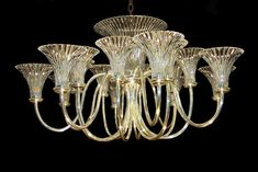 Rib fluted trumpet shade chandelier - Wilkinson, Kent, UK