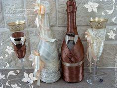 Купить Свадебное шампанское (цвет любой) - свадьба, свадебное шампанское, шампанское на свадьбу, оформление шампанского