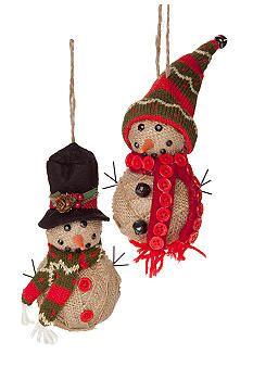 Home Accents® Craft Christmas Burlap Snowman Ornament