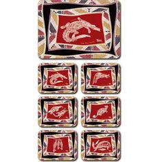 Aboriginal Design Land and Sea Animals placemats and coasters, set of 6