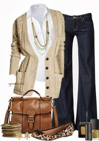 Brown ladies jacket, Necklace, Leopard shoes and blue jeans