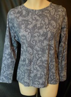 Pima Cotton Knit long sleeve Top Size 2x Blue with paisley design #CroftBarrow #KnitTop #Casual $17.50